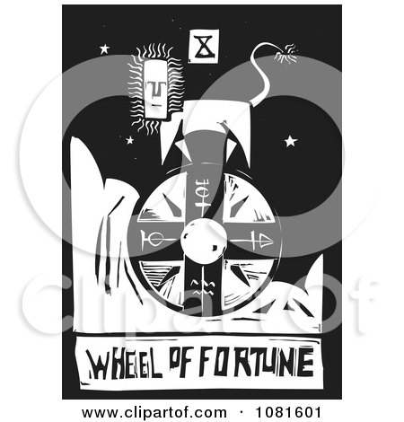 Clipart Black And White Woodcut Styled Wheel Of Fortune Tarot Card - Royalty Free Vector Illustration by xunantunich