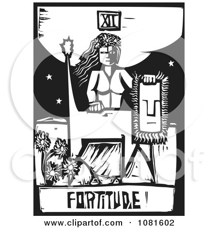 Clipart Black And White Woodcut Styled Fortitude Tarot Card - Royalty Free Vector Illustration by xunantunich