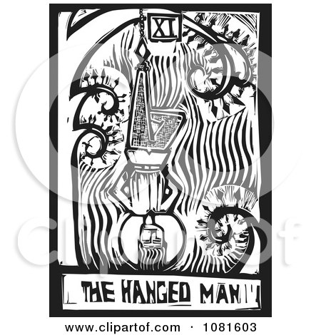 Clipart Black And White Woodcut Styled The Hanged Man Tarot Card - Royalty Free Vector Illustration by xunantunich