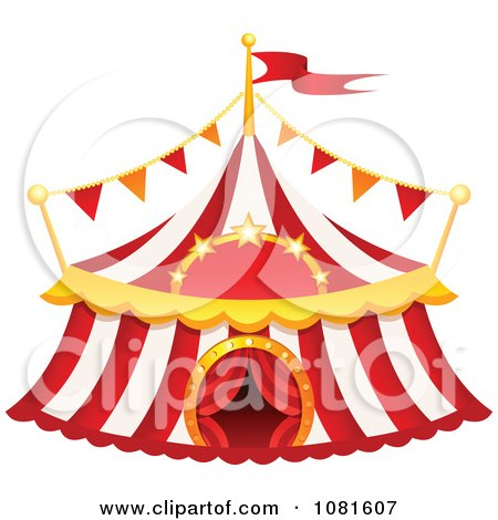 Clipart Red And White Striped Big Top Circus Tent - Royalty Free Vector Illustration by yayayoyo
