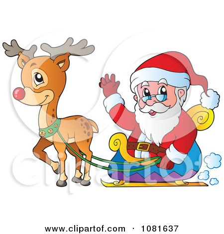Similiar Santa And His Sleigh Clip Art Keywords