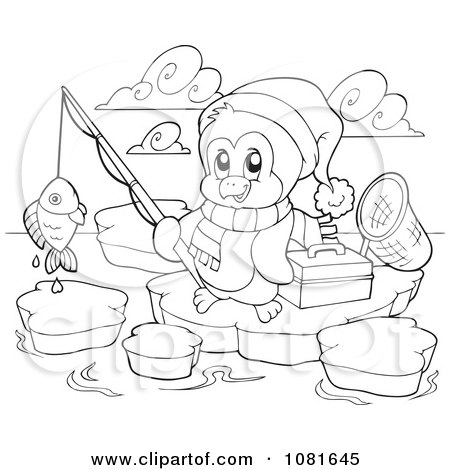 coloring pages of christmas penguins - clipart outlined fishing christmas penguin royalty free