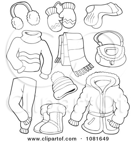 Winter Coloring Pages on Clipart Outlined Winter Clothing And Accessories   Royalty Free Vector