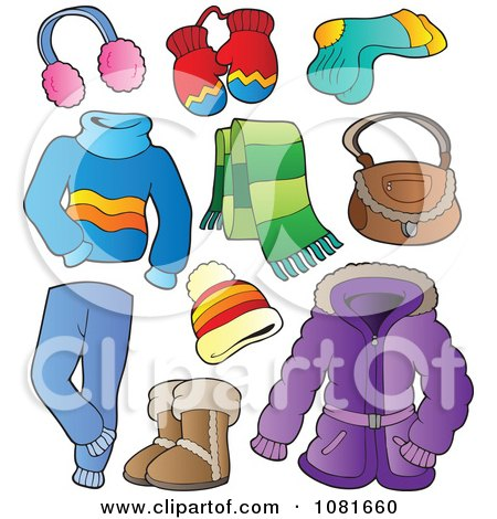 Clipart Winter Apparel And Items - Royalty Free Vector Illustration by visekart