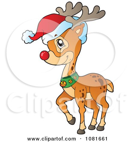 Rudolph The Red Nosed Reindeer Wearing A Santa Hat