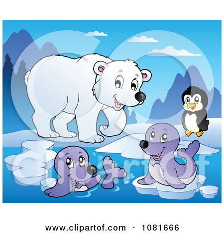 Clipart Polar Bear Penguin And Seals - Royalty Free Vector Illustration by visekart
