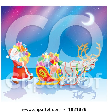 Clipart Santa Loading His Reindeer Sleigh With Gifts Under Northern Lights - Royalty Free Illustration by Alex Bannykh