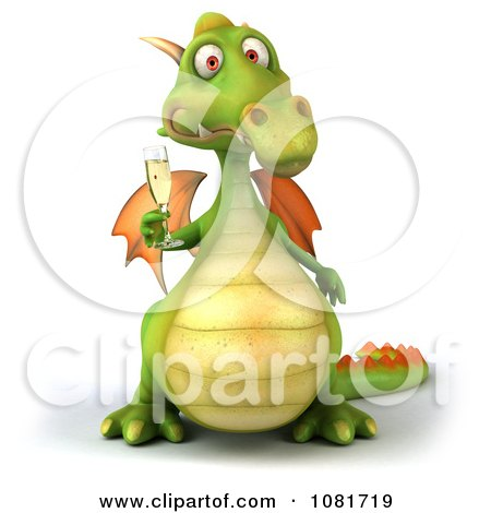 Clipart 3d Green Dragon Toasting With Champagne 4 - Royalty Free CGI Illustration by Julos