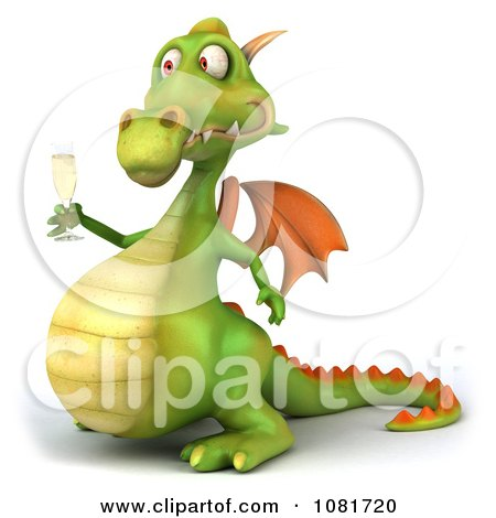 Clipart 3d Green Dragon Toasting With Champagne 5 - Royalty Free CGI Illustration by Julos