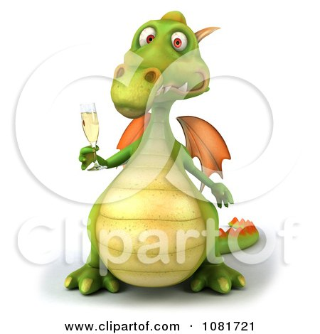 Clipart 3d Green Dragon Toasting With Champagne 6 - Royalty Free CGI Illustration by Julos