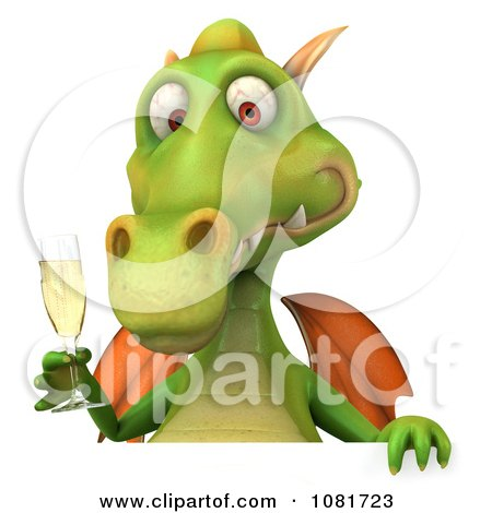 Clipart 3d Green Dragon Toasting With Champagne And A Blank Sign 3 - Royalty Free CGI Illustration by Julos