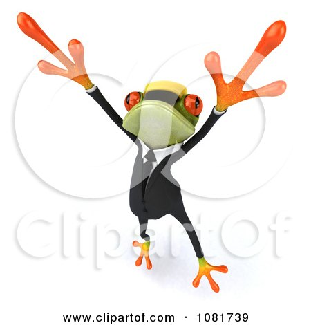Clipart 3d Contractor Springer Frog Wearing A Hardhat And Dancing 3 - Royalty Free CGI Illustration by Julos