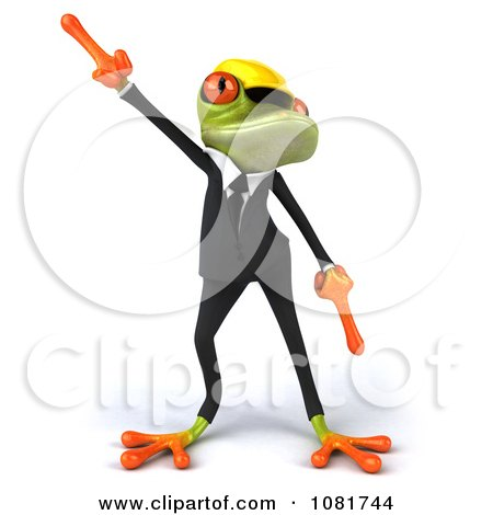 Clipart 3d Contractor Springer Frog Wearing A Hardhat And Dancing 1 - Royalty Free CGI Illustration by Julos