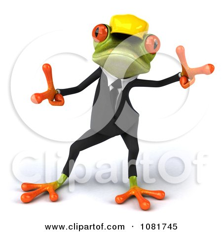 Clipart 3d Contractor Springer Frog Wearing A Hardhat And Dancing 2 - Royalty Free CGI Illustration by Julos