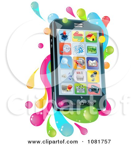 Clipart 3d Cell Phone With Apps And Splashes - Royalty Free Vector Illustration by AtStockIllustration
