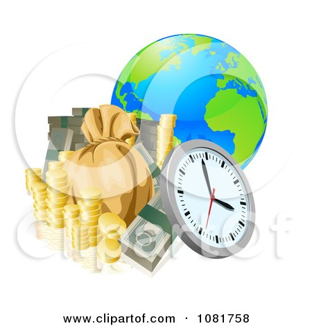 Clipart 3d Globe With Money And A Clock - Royalty Free Vector Illustration by AtStockIllustration