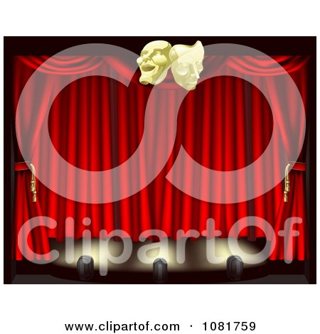 Clipart 3d Theater Stage Curtains Lighting And Masks - Royalty Free Vector Illustration by AtStockIllustration