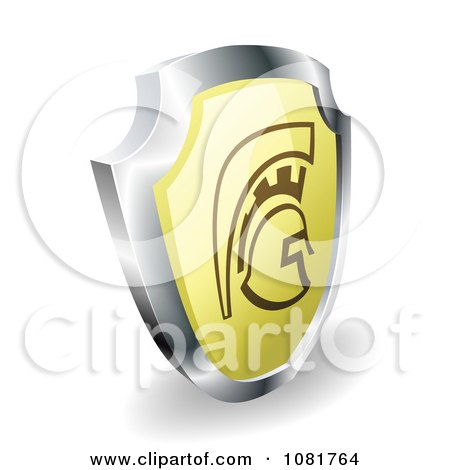 Clipart 3d Gold And Chrome Spartan Trojan Or Roman Shield - Royalty Free Vector Illustration by AtStockIllustration
