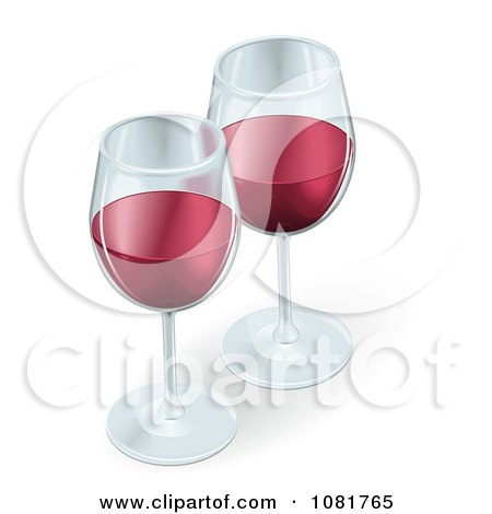 Clipart Two 3d Glasses Of Red Wine - Royalty Free Vector Illustration by AtStockIllustration