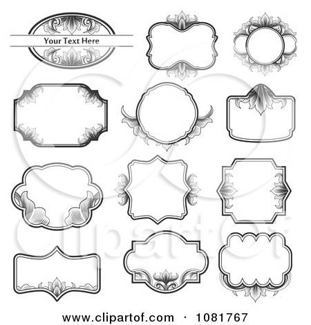 Clipart Set Of Black And White Ornate Frame Design Elements - Royalty Free Vector Illustration by vectorace