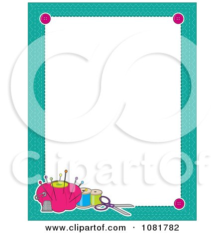 Clipart Turquoise Frame Border With Sewing Items Around White Space - Royalty Free Vector Illustration by Maria Bell