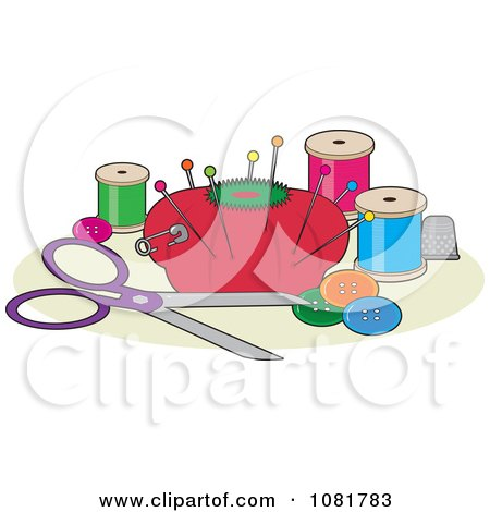 Clipart Red Pin Cushion With Sewing Scissors Thread Buttons And A Thimble - Royalty Free Vector Illustration by Maria Bell
