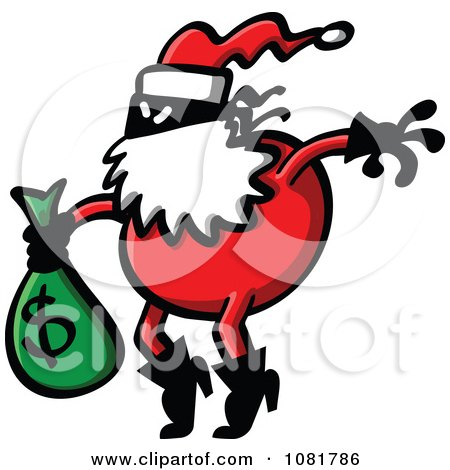 Clipart Santa Robber Carrying A Money Bag - Royalty Free Vector Illustration by Zooco