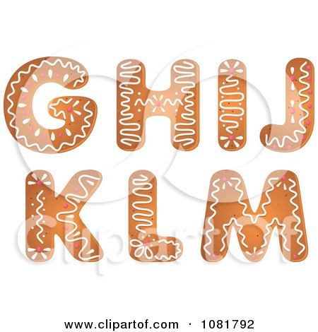 Clipart Gingerbread Letters G Through M Design Elements - Royalty Free Vector Illustration by Vector Tradition SM