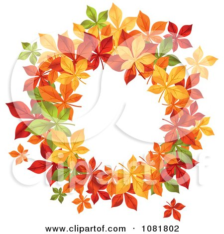 Clipart Beautiful Autumn Wreath Made Of Colorful Leaves 1 - Royalty Free Vector Illustration by Vector Tradition SM