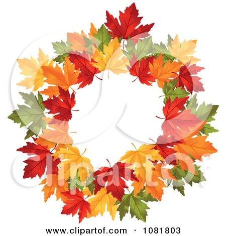 Clipart Beautiful Autumn Wreath Made Of Colorful Leaves 2 - Royalty Free Vector Illustration by Vector Tradition SM