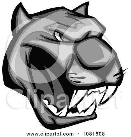 Clipart Grayscale Growling Panther Head - Royalty Free Vector Illustration by Vector Tradition SM