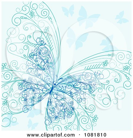 Clipart Ornate Blue Butterfly Background - Royalty Free Vector Illustration by Vector Tradition SM