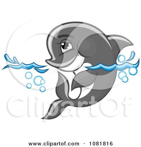 Clipart Cute Gray Dolphin Wading In Water - Royalty Free Vector Illustration by Vector Tradition SM