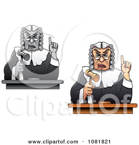 Clipart Judges Holding Up Gavels And Fingers - Royalty Free Vector Illustration by Vector Tradition SM