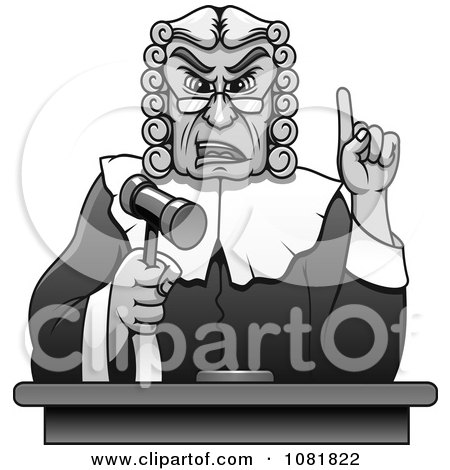 Clipart Grayscale Judge Holding Up A Gavel And Finger - Royalty Free Vector Illustration by Vector Tradition SM