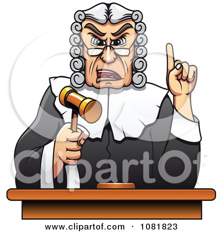 Clipart Strict Judge Holding Up A Gavel And Finger - Royalty Free Vector Illustration by Vector Tradition SM