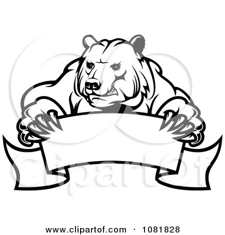 Clipart Black And White Bear Holding A Curved Banner - Royalty Free Vector Illustration by Vector Tradition SM