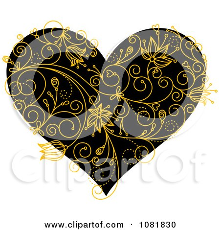 Clipart Black Heart With Yellow Floral Vines - Royalty Free Vector Illustration by Vector Tradition SM