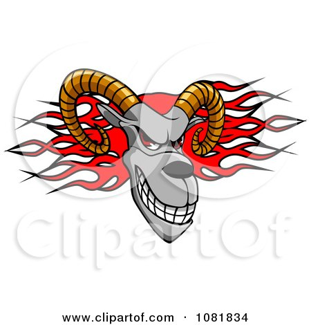 Clipart Ram Head Over Red Flames - Royalty Free Vector Illustration by Vector Tradition SM