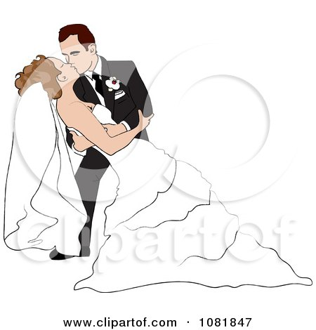 Clipart Romantic Groom Dipping And Kissing His Bride While Dancing - Royalty Free Illustration by Pams Clipart