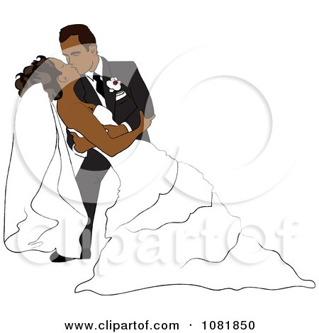 Clipart Romantic Hispanic Groom Dipping And Kissing The Bride While Dancing - Royalty Free Illustration by Pams Clipart