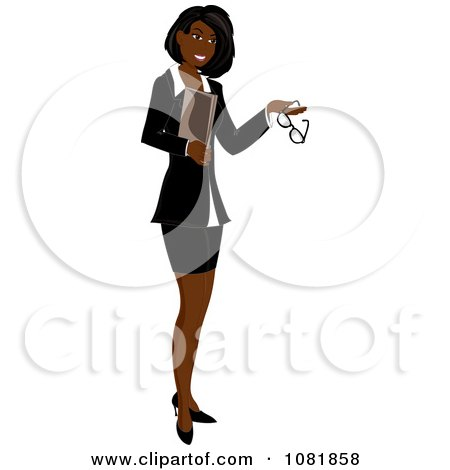Clipart Black Businesswoman Or Realtor Holding A Folder And Glasses - Royalty Free Illustration by Pams Clipart