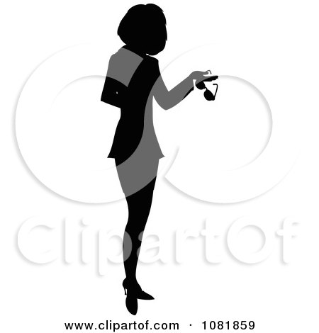 Clipart Silhouetted Businesswoman Or Realtor Holding A Folder And Glasses - Royalty Free Illustration by Pams Clipart