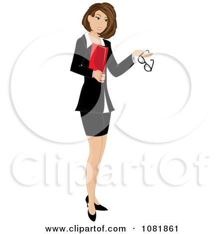 Clipart Brunette Businesswoman Or Realtor Holding A Folder And Glasses - Royalty Free Vector Illustration by Pams Clipart