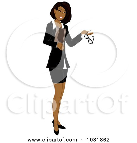 Clipart Hispanic Businesswoman Or Realtor Holding A Folder And Glasses, on a White Background - Royalty Free Illustration by Pams Clipart