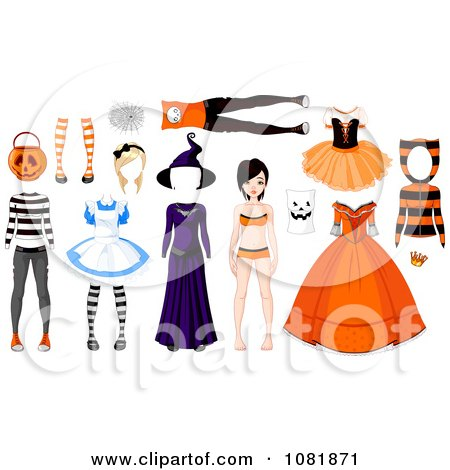 Clipart Teenage Doll With Halloween Costumes - Royalty Free Vector Illustration by Pushkin