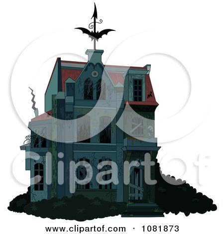 Clipart Creepy Halloween Haunted House With Boarded Up Windows - Royalty Free Vector Illustration by Pushkin