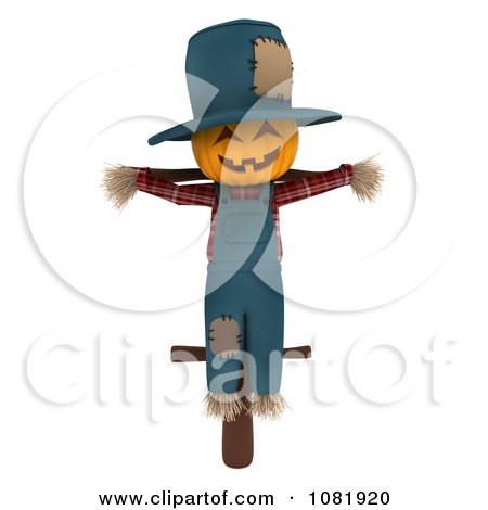 Clipart 3d Scarecrow With A Jackolantern Face - Royalty Free CGI Illustration by BNP Design Studio