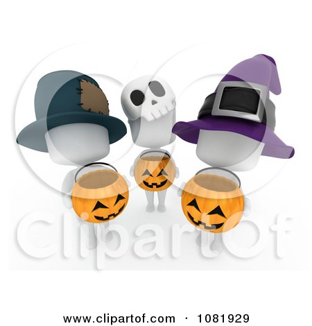 Clipart 3d Ivory People Holding Halloween Candy Pumpkin Baskets - Royalty Free CGI Illustration by BNP Design Studio