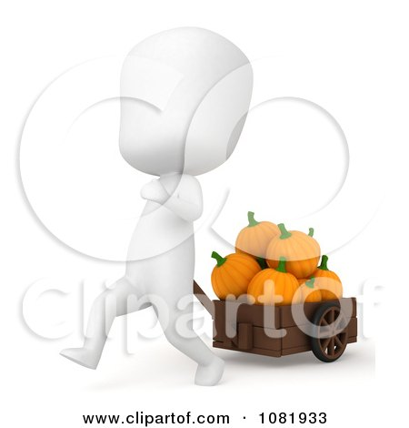 Clipart 3d Ivory Man Pulling Pumpkins In A Cart - Royalty Free CGI Illustration by BNP Design Studio